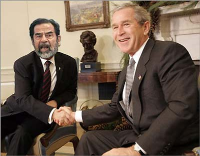 George Bush thanks Saddam Hussein for handing him a second term in office (parody).