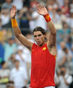 Tennisist Rafael Nadal surrenders to police after wielding a tennisist racquet in public for several hours.