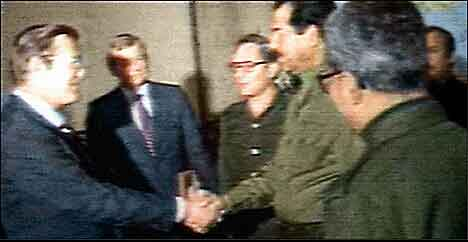 Saddam Hussein welcomes Donald Rumsfeld